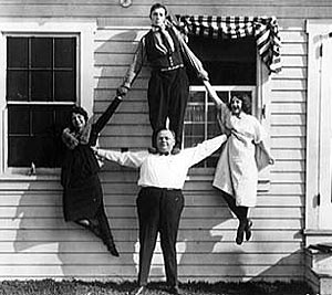 Keaton (top), Arbuckle (bottom), and gal pals